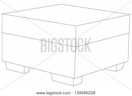 Vector illustration of comfortable and square pouf