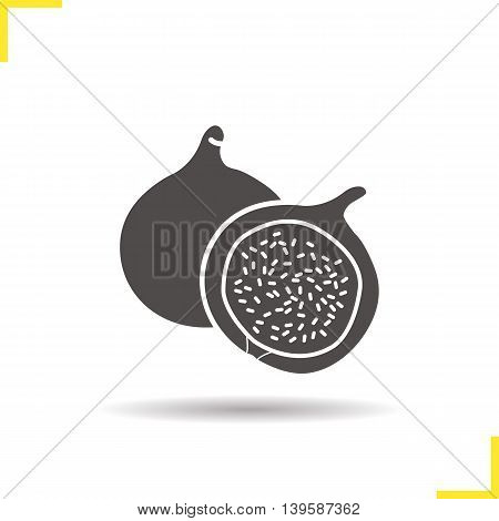 Fig icon. Drop shadow silhouette symbol. Common fig fruit vector isolated illustration