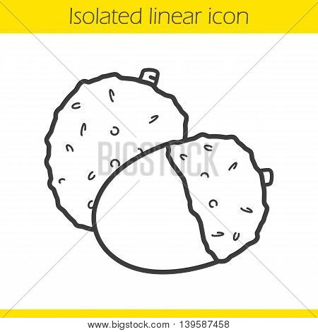 Lichee linear icon. Thin line illustration. Litchi fruit contour symbol. Vector isolated outline drawing