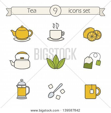 Tea color icons set. Teapot, steaming cup, lemons, kettle, loose tea herbs, tea bag, french press, spoon with raffinade and mug. Vector isolated illustrations