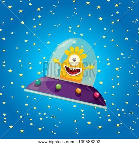 alien spaceship . ufo. orange alien in space vector. flying saucer. Kids vector background