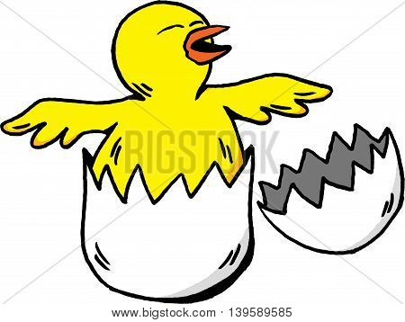 Cartoon illustration of a newborn chick hatching