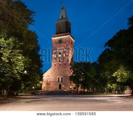 Medieval cathedral at night in Turku Finland