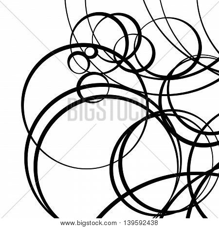 Random Scattered Circles Artistic Geometric Illustration. Dynamic Squiggly, Squiggle Lines.