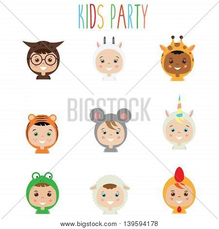 Kids party outfit. Cute smiling happy children in animal carnival costumes vector illustration. Isolated boys and girls portraits in animal clothes. Stickers design elements