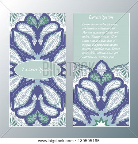 Stock vector template with floral mandalaoriental design for card banner cover layout.