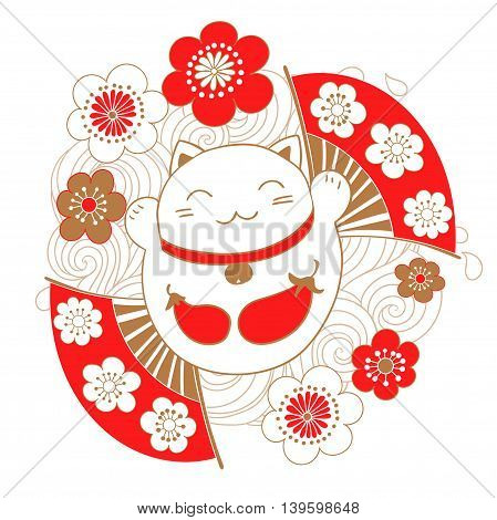 Cute card with white cat - a talisman, bringing luck, Maneki Neko. On the belly painted eggplant seal that symbolizes the fulfillment of desires.