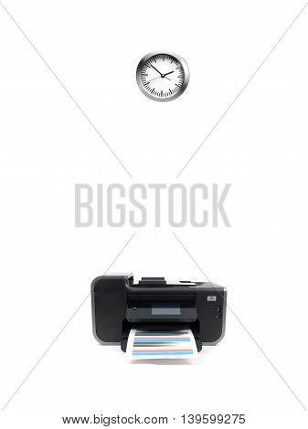 A Desktop Printer And Clock Isilated On White