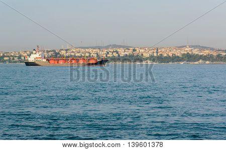 LPG tanker at sea. liquefied gas. Black ship