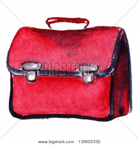 Watercolor red crimson school bag isolated object