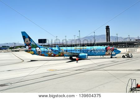 LAS VEGAS - APRIL 17, 2015: Alaska Airlines in McCarran international airport on April 17, 2015 in Las Vegas, USA.Airport was found in 1942 now has more than 1234 slot machines inside the airport terminals.