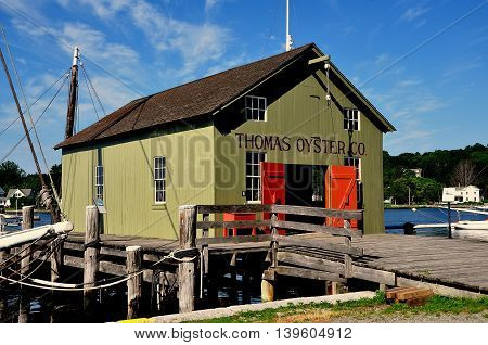 Mystic Connecticut - July 11 2015: 1874 Thomas Oyster Co. building at Mystic Seaport was originally from New Haven Connecticut