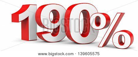 Discount 190 percent on white background. 3D illustration.