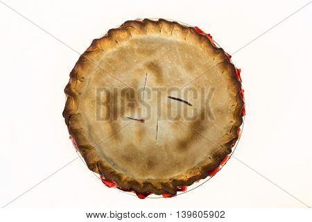 Fresh baked cherry pie isolated on white.