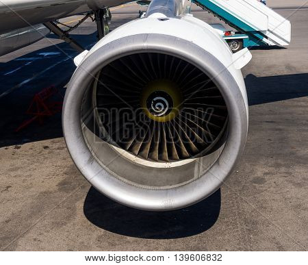 Moscow, Russia - June 01, 2016, The engine of the modern jetliner Airbus A321