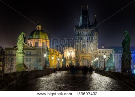 Charles bridge and Tower at night, Prague, Czech Republic