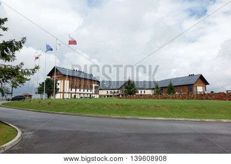 Arlamow Poland - July 18 2016: Hotel and recreation complex Arlamow in the Bieszczady where during the Polish People's Republic frequented the most important dignitaries of the socialist countries