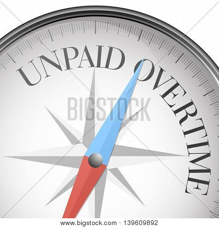 detailed illustration of a compass with unpaid overtime text, eps10 vector