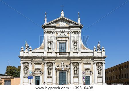 RAVENNA,ITALY-AUGUST 21,2015:particular of the Santa Maria in porto church in Ravenna-Italyduring a sunny day .