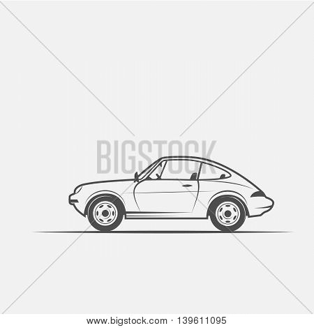 car in black and white style isolated on white background