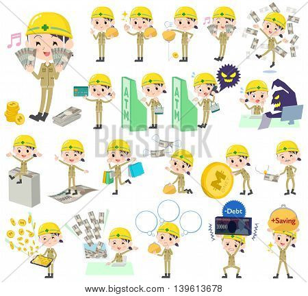 Set of various poses of helmet construction worker woman money