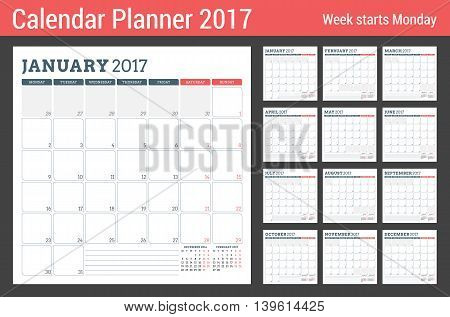 Calendar Planner Template for 2017 Year. Week Starts Monday. 3 Months on Page. Set of 12 Months. Place for Notes. Stationery Design. Vector Calendar Template