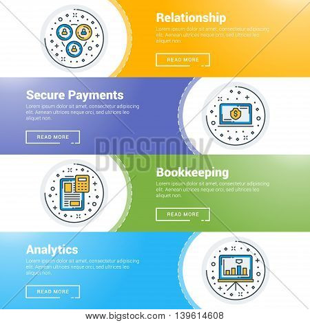 Set of flat line business website banner templates. Vector illustration. Modern thin line icons in circle. Relationship Secure Payments Bookkeeping Analytics
