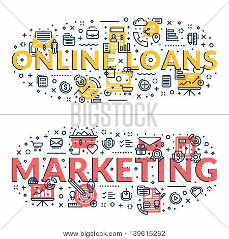 Online Loans and Marketing headings titles. Horizontal colored flat vector illustration.