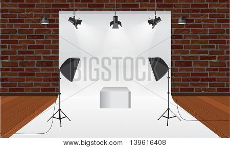 Photography studio with lighting equipment and backdrop. Illustrated vector. Display mock-up. Box in the middle for your object design. Wooden floor and brick wall