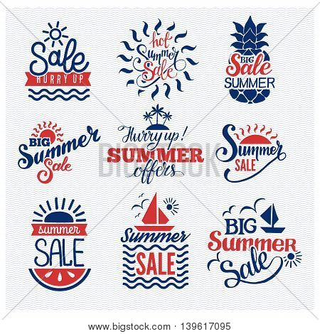 Summer sale logo vector badges. Summer sale logo isolated on white background.Some shopping summer big mega sale logo silhouette