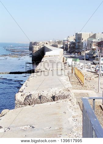 The ancient sea walls in Akko (Acre) Israel