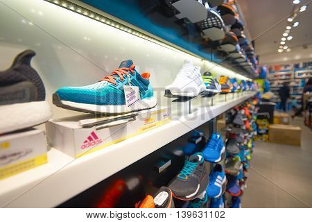 MACAO, CHINA - FEBRUARY 16, 2016: inside of a store in Shoppes at Sands Cotai Centra. Shoppes at Sands Cotai Central is a large shopping mall in Macao