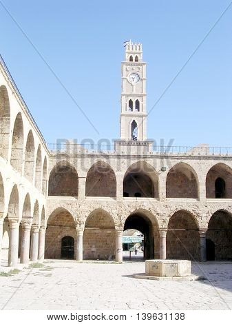 Khan al Omdan Clock Tower in the old city of Acre Akko Israel
