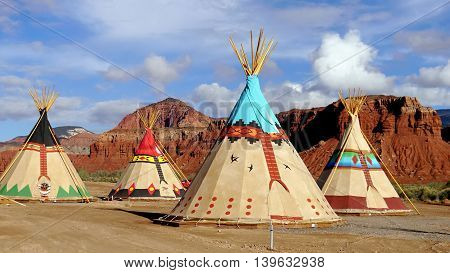 Indian tents decorated with ornaments. Near the city of Moab. Utah, USA. May 21, 2016