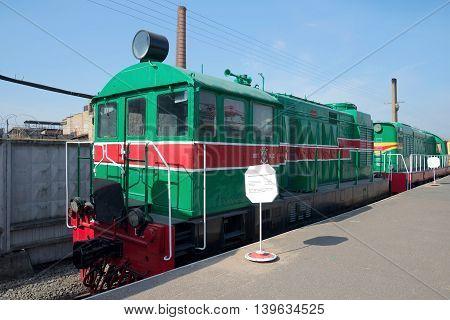 SAINT PETERSBURG, RUSSIA - MARCH 30, 2016: Old Hungarian shunting diesel locomotive VME1 in the Museum of railway transport. Historical landmark of the Saint Petersburg