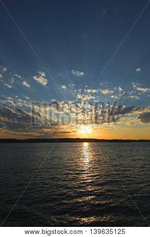 Sunset in New York Harbor near Verrazano Bridge