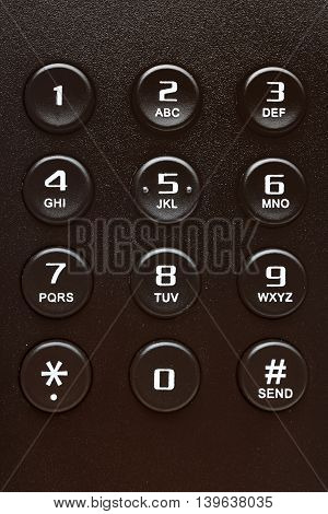Buttons of black IP phone close up