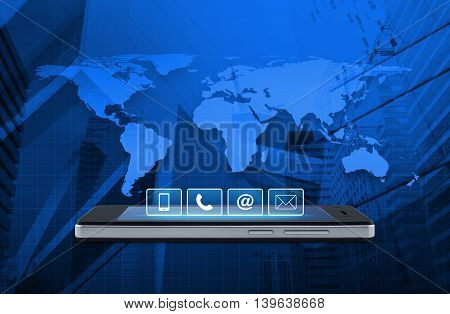 Telephone mobile phone at and email buttons on modern smart phone screen over map and city tower background Customer support concept Elements of this image furnished by NASA