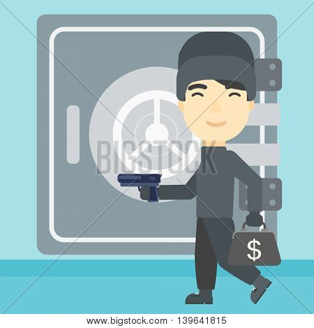 An asian  burglar in mask near the big safe door. Burglar holding hand gun and a bag with dollar sign. Thief stealing money. Vector flat design illustration. Square layout.