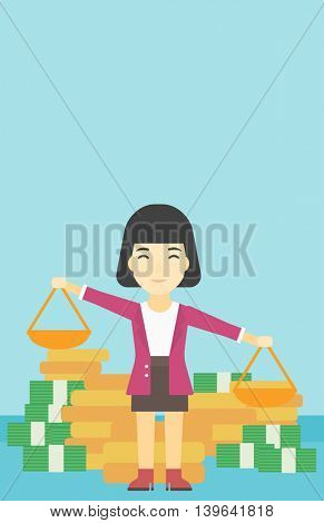 An asian young business woman holding scales in hands on a blue background with stacks of coins. Vector flat design illustration. Vertical layout.
