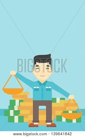 An asian young businessman holding scales in hands on a blue background with stacks of coins. Vector flat design illustration. Vertical layout.