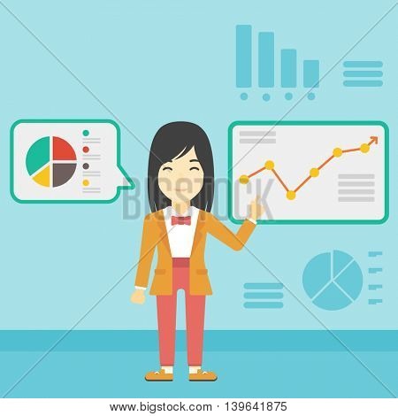 An asian business woman pointing at charts on a board during presentation. Woman giving a business presentation. Business presentation in progress. Vector flat design illustration. Square layout.