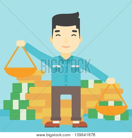 An asian young businessman holding scales in hands on a blue background with stacks of coins. Vector flat design illustration. Square layout.