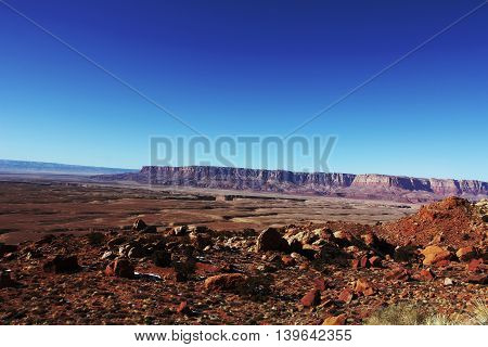 Scenic rocky desert landscape near to the Grand Canyon in the USA