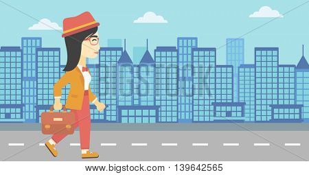 An asian young business woman walking with a briefcase. Business woman walking down the street. Vector flat design illustration. Horizontal layout.
