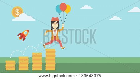 An asian business woman with balloons flying over golden coins and a business start up rocket flying nearby. Business start up and growth concept. Vector flat design illustration. Horizontal layout.