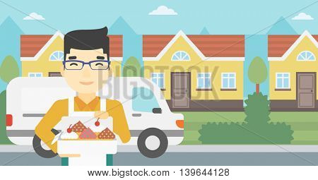 An asian smiling baker holding a box of cakes. Baker delivering cakes. A baker with cupcakes standing on the background of delivery truck. Vector flat design illustration. Horizontal layout.