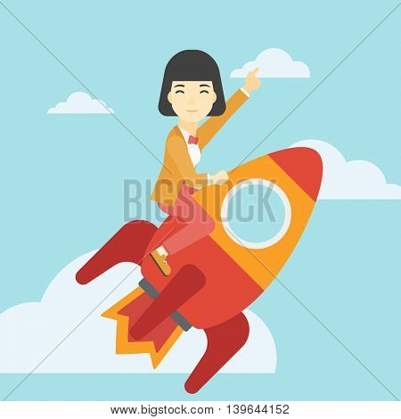 An asian business woman flying on the business start up rocket and pointing forefinger up. Successful business start up concept. Vector flat design illustration. Square layout.