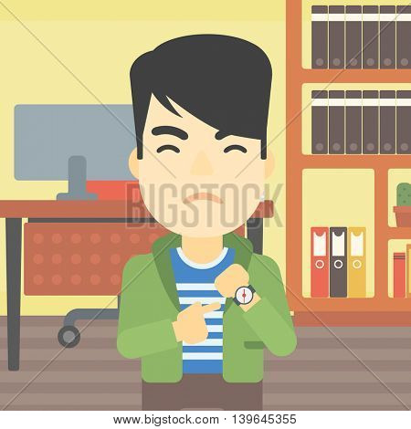 An asian  angry businessman standing in the office and pointing at his wrist watch. Concept of late to work. Vector flat design illustration. Square layout.