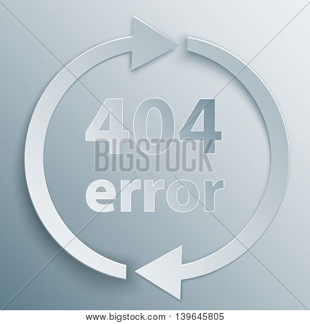 404 page not found template with two reboot round arrows in 3d paper and origami style.